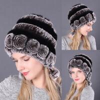 Women Ladies Headgear Hats Handmade Rex Rabbit Fur Winter Warm Soft Caps Hat