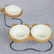 High-end Pet Bowl Bamboo Shelf Ceramic Feeding and Drinking Bowls for Dogs Cats