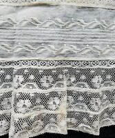 Antique Edwardian Lace Fabric Salvage Sewing Costumes Doll Clothes #5 A12
