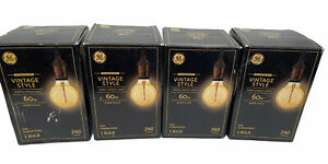 4 GE LED Vintage Style Amber Glass Warm Candle Light 60W Bulbs 240 Lumens G25