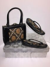 Vintage Set Asian Purse w/ Matching Shoes Sz 33 Feather Black Brown RETRO Gift!