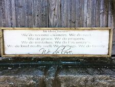 "Large Rustic Wood Sign - ""In This House...We Do Love"" - Framed - 4 Feet Long!"