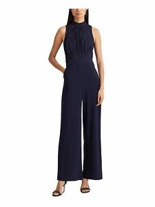 RALPH LAUREN Womens Navy Floral Sleeveless Wide Leg Evening Jumpsuit Size: 6