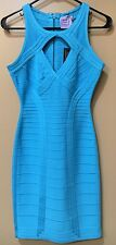 NWT Authentic Herve Leger ABBEYGAIL Bandage Dress Caribbean Blue Size S Small