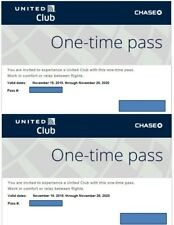 Two (2) United Airlines Club One-Time Pass E-Delivery  (Expires 11/26/2020)