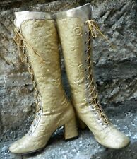 Vintage 1960s Taranto by Opat Gold Brocade Leather Retro Boots Size 6 5