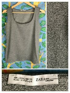 Zara W/B Collection L Women's Grey Marle Tank Cami Top Shelf Bra Stretch