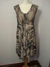Mint Velvet taupe/grey/beige/black print chiffon asymmetric dress/tunic top 14