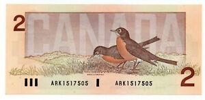 Bank of Canada 1986 $2 Two Dollars Note Crow-Bouey ARK Prefix GEM UNC