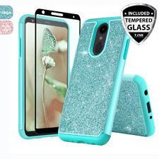 For LG Stylo 4 / 4 Plus Bling Glitter Armor Hard Phone Case+Black Tempered Glass