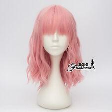 Pink Curly Hair Heat Resistant Cosplay 40CM Women Lolita Wig With Bangs + Cap