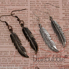 FUNKY VINTAGE FEATHER EARRINGS CUTE CHARM CHIC PENDANT BOHO KITSCH FESTIVAL EMO