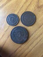LOTTO 3 MONETE URUGUAY 1 2 4 CENTESIMI numismatica MONETE E BANCONOTE