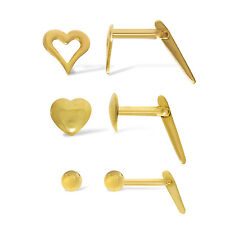 9CT GOLD ANDRALOK STUDS 2.5MM BALL C/OUT HEART SOLID HEART SINGLE NOSE PINS BOX