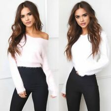UK Womens Fluffy Cropped Jumper Ladies Shaggy Long Sleeve Sweater Tops Pullover