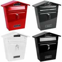 Post Box Large Letter Mail box Steel Lockable Outdoor Wall Mounted With Keys