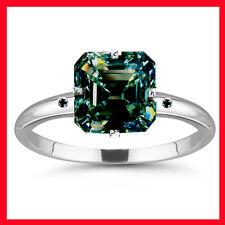 Diamond 925 Sterling Silver Ring 3.11 ct Vs1>Natural Blue Emerald Moissanite