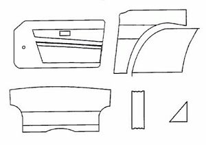 New Interior Panel Kit W Door Panels for Triumph TR6 1974-1976 Made UK Black