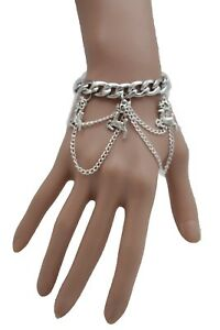 Women Silver Metal Chains Bracelet Winter White Holidays Deer Christmas Jewelry