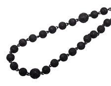 "Black Gold Finish 5MM Bead 34"" Chain Black Diamond Beaded Ball Necklace 3.0ct."
