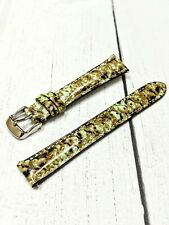 NOS Ladies Fashion Watch Strap Band 16mm - Green Brown Python Quick Release