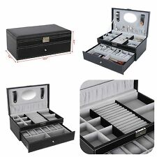 Jewelry Box 6 Watch Organizer Black Leather Storage Case with Lock Mirror