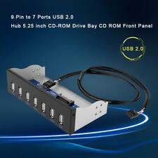 9Pin to 7 Port USB2.0 Hub 5.25in CD-ROM Drive Bay CD ROM Front Panel for PC Case