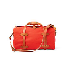 Filson Small Rugged Twill Duffle Bag 11070220 Mackinaw Red Leather Made in USA