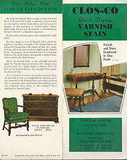 Clos-Co Varnish Stain Vintage Pamphlet Color Chart McCloskey Varnish Company