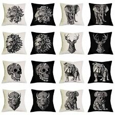 17''Linen/Cotton Animal Print Cushion Cover Throw Pillowcase Sofa Home Car Decor
