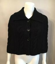 Stunning Michael Kors Black Cable Knit Poncho Cape Sweater Size S/M