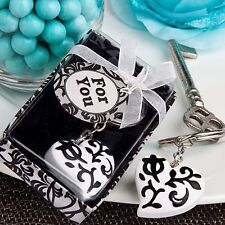 1 Damask Black White Heart Wedding Keychain Favor Reception Gift Party Birthday