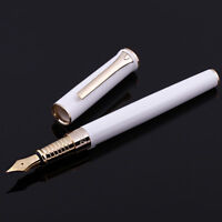 Picasso POLO Classic WHITE Metal Fountain Pen with Golden Clip Fine Nib Gift Pen