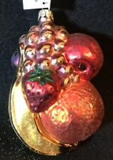 "Slavic Treasures ~ Mouth Blown Glass Ornament ~ Fruit Bunch ~ 5"" ~ Poland"