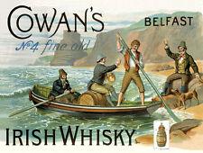 Cowan's Irish Whisky Alcohol Liquor Metal Sign