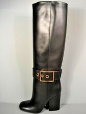 GUCCI KESHA BLACK LEATHER KNEE HIGH GOLD BUCKLE STACKED HEEL BOOTS 37/7 NEW