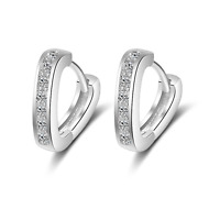 925 Sterling Silver Heart Huggie Hoop Stud Earrings Womens Girls Jewellery Gift