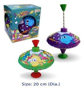 1 METAL SPINNING TOP Classic Retro Humming Toy 20 cm Preschool Toddler Kids Toy