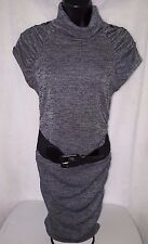 3 Pink Hearts Womens Gray Black Sexy Sweater Dress With Belt Size M