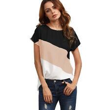Women Summer Short Sleeve Blouse T Shirt Color Block Chiffon Shirts Casual Tops