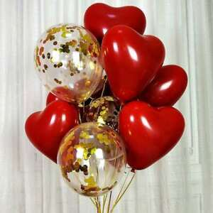 20pcs 10inch Ruby Red 2Layer Heart Latex Balloon Valentines Day Anniversary Love