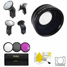WIDE ANGLE + MACRO + PRO FLASH FOR CANON EOS XTI 1200D T3 T3I T4 T5 T6 7D 6D T5I