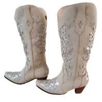 Womens Low Cuban Heels Rivet Lace Up Mid Calf Riding Boots Stud Outdoor Shoe 019