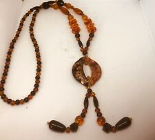 "Glass Black And Amber 36"" Necklace New"