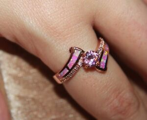 fire opal topaz Cz ring gems rose gold filled jewelry engagement band 9 10 11 13