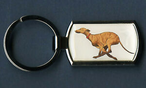 Keyring long dog, greyhound, lurcher, whippet brindle running