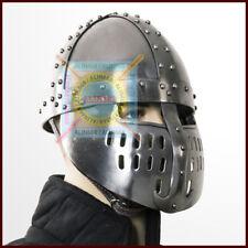 Norman Faceplate Spangenhelm Crudader 18G Steel Viking Helmet with Leather Liner