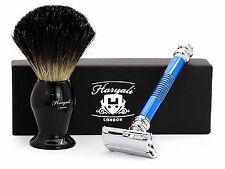 Estilo mariposa azul de Safety Razor Con Negro Para hombre pelo de tejón brocha de afeitar.