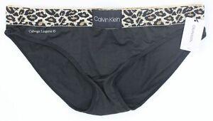 "NWT Calvin Klein QF5462 ""Animal"" Logo Microfiber Bikini, Black / Animal (001)"