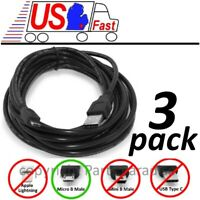 Lot3pk 15ft long USB Micro 5pin Digital Phone/Charger/Sync/Data Cable/Cord/Wire